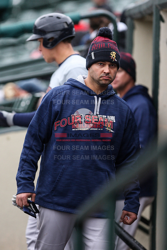 Scranton/Wilkes-Barre RailRiders designated hitter Nick Swisher (33) in the dugout against the Rochester Red Wings on May 1, 2016 at Frontier Field in Rochester, New York. Rochester defeated Scranton 1-0.  (Christopher Cecere/Four Seam Images)