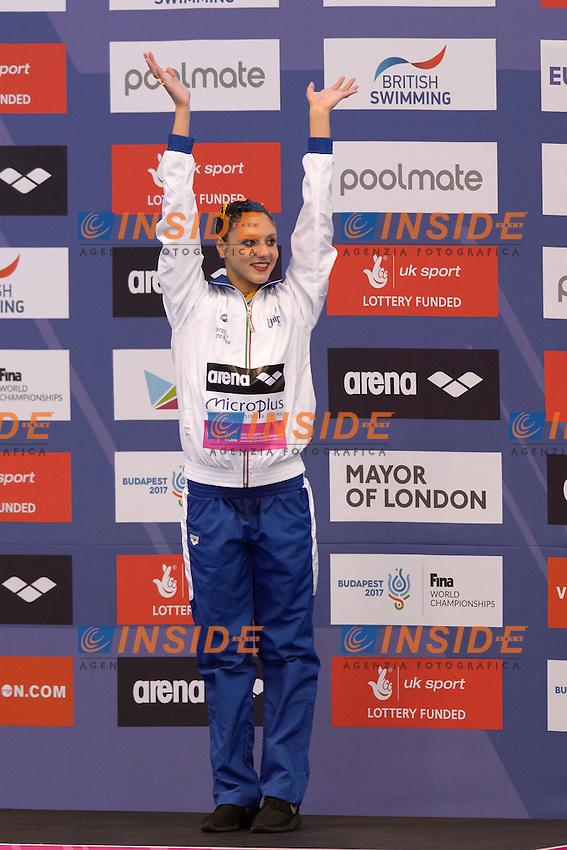 Linda CERRUTI ITA Italy Bronze Medal <br /> Solo Free Final <br /> London, Queen Elizabeth II Olympic Park Pool <br /> LEN 2016 European Aquatics Elite Championships <br /> Synchronized Swimming <br /> Day 02 10-05-2016<br /> Photo Andrea Staccioli/Deepbluemedia/Insidefoto
