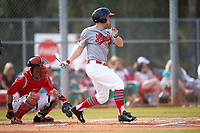 Illinois State Redbirds left fielder Daniel Dwyer (32) at bat in front of catcher Jalen Washington (2) during a game against the Ohio State Buckeyes on March 5, 2016 at North Charlotte Regional Park in Port Charlotte, Florida.  Illinois State defeated Ohio State 5-4.  (Mike Janes/Four Seam Images)