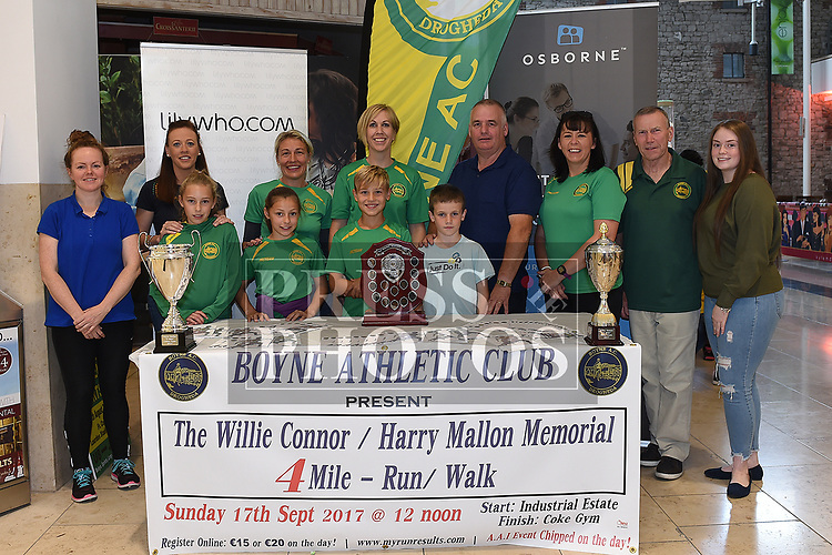Members of Boyne AC with harry mallon's son Henry and representatives from sponsors lilywho.com and Osbore Recruitment at the launch of the Willie Connor / Harry Mallon Memorial 4 mile run/walk in Scotch Hall. Photo:Colin Bell/pressphotos.ie