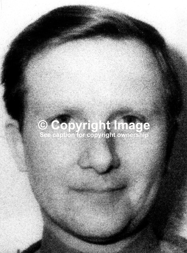 Sgt Barrington Joseph Foster, aka Barry Foster, 28 years, single, Duke of Edinburgh's Regiment, British Army, who was shot dead in Belfast, N Ireland, 23rd March 1973. For was one of 4 soldiers who were lured to a flat on Antrim Road, Belfast, by two women they met in a Lisburn hotel on a previous occasion. Two other soldiers died and one was very seriously injured. The RUC unsuccessfully tried to extradite a woman from the Rep of Ireland to face a murder charge in connection with the incident. 197303230145BF.<br /> <br /> Copyright Image from Victor Patterson,<br /> 54 Dorchester Park, <br /> Belfast, UK, BT9 <br /> <br /> t1: +44 28 9066 1296 (from Rep of Ireland 048 90661296)<br /> t2: +44 28 9002 2446 (from Rep of Ireland 048 9002 2446)<br /> <br /> m: +44 7802 353836<br /> <br /> e: victorpatterson@me.com<br /> www.victorpatterson.com<br /> <br /> Please see my Terms and Conditions of Use at www.victorpatterson.com. It is IMPORTANT that you familiarise yourself with them.<br /> <br /> Images used on the Internet must be visibly watermarked i.e. &copy; Victor Patterson<br /> within the body of the image and copyright metadata must not be deleted. Images <br /> used on the Internet have a size restriction of 4kbs and will be chargeable at current<br />  NUJ rates unless agreed otherwise.<br /> <br /> This image is only available for the use of the download recipient i.e. television station, newspaper, magazine, book publisher, etc, and must not be passed on to any third <br /> party. It is also downloaded on condition that each and every usage is notified within 7 days to victorpatterson@me.com<br /> <br /> The right of Victor Patterson to be identified as the author is asserted in accordance with The Copyright Designs And Patents Act (1988). All moral rights are asserted.