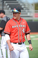 Rutgers University Scarlet Knights catcher Troy Sutton (43) after a game against the University of Cincinnati Bearcats at Bainton Field on April 19, 2014 in Piscataway, New Jersey. Rutgers defeated Cincinnati 4-1.  (Tomasso DeRosa/ Four Seam Images)