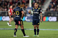 Lima Sopoaga and Aaron Smith during the Super Rugby match between the Crusaders and Highlanders at Wyatt Crockett Stadium in Christchurch, New Zealand on Friday, 06 July 2018. Photo: Martin Hunter / lintottphoto.co.nz