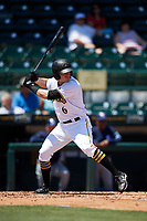 Bradenton Marauders right fielder Kevin Krause (6) at bat during a game against the Charlotte Stone Crabs on April 9, 2017 at LECOM Park in Bradenton, Florida.  Bradenton defeated Charlotte 5-0.  (Mike Janes/Four Seam Images)