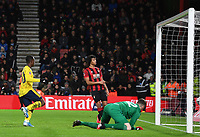 27th January 2020; Vitality Stadium, Bournemouth, Dorset, England; English FA Cup Football, Bournemouth Athletic versus Arsenal; Edward Nketiah of Arsenal scores in 25th minute 0-2 as Bournemouth's Ake looks on dejectedly