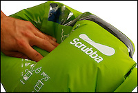 BNPS.co.uk (01202) 558833<br /> Picture: thescrubba.com<br /> <br /> A backpack that doubles up as a portable washing machine could transform the lives of campers, travellers, and festival goers. The rucksack, dubbed the Scrubba, can easily wash T-shirts, socks, pants, and even jeans while a user is away from home. It is made from a waterproof material and contains a flexible washboard which cleverly cleans away the day. It was invented by Ash Newland when he was packing for a holiday in Africa and realised he only had room for a few changes of clothes. He recommends using it for five to six minutes to achieve a machine-quality wash but it can be used for just 30 seconds for light loads.