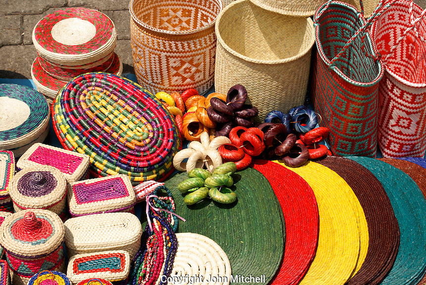 Colorful Mexican baskets for sale at the art show held every Sunday in the Jardin del Arte, Sullivan Park, Mexico City