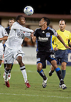 Rodney Wallace (left) and Ramon Sanchez (20) go up for the ball. The San Jose Earthquakes tied DC United 2-2 at Buck Shaw Stadium in Santa Clara, California on July 25, 2009.