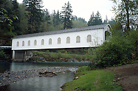 Goodpasture covered bridge in rural Oregon. Springfield Oregon USA McKenzie river valley.