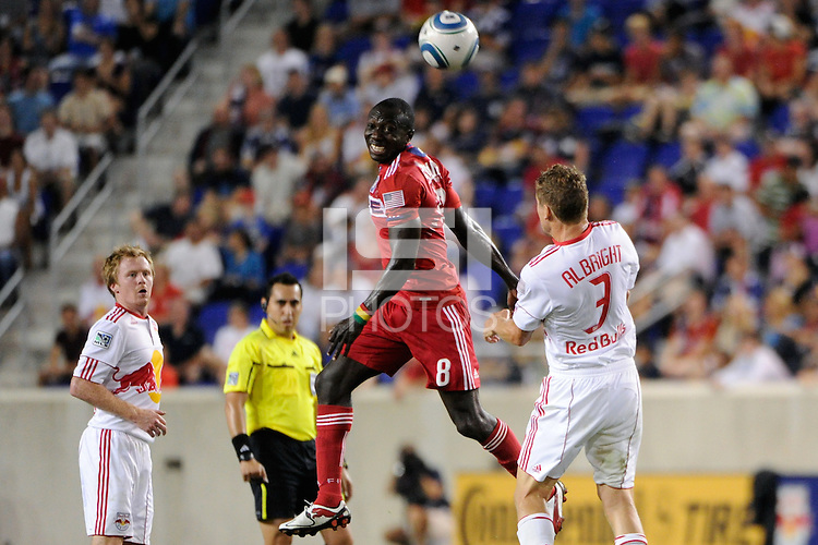 Dominic Oduro (8) of the Chicago Fire heads the ball. The New York Red Bulls and the Chicago Fire played to a 2-2 tie during a Major League Soccer (MLS) match at Red Bull Arena in Harrison, NJ, on August 13, 2011.
