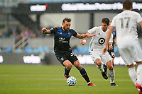 SAN JOSE, CA - MARCH 7: Guram Kashia #37 of the San Jose Earthquakes is marked by Luis Amarilla #9 of Minnesota United during a game between Minnesota United FC and San Jose Earthquakes at Earthquakes Stadium on March 7, 2020 in San Jose, California.