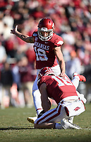 NWA Democrat-Gazette/CHARLIE KAIJO Arkansas kicker Connor Limpert (19) kicks a field goal, Saturday, November 2, 2019 during the second quarter of a football game at Donald W. Reynolds Razorback Stadium in Fayetteville. Visit nwadg.com/photos to see more photographs from the game.