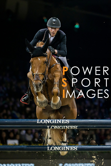 Kevin Staut of France riding Silver Deux de Virton HDC competes in the Longines Grand Prix during the Longines Masters of Hong Kong at AsiaWorld-Expo on 11 February 2018, in Hong Kong, Hong Kong. Photo by Ian Walton / Power Sport Images