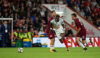 Kriss Karklins (Liepaja) of Latvia U21 holds onto Tammy Abraham (Swansea City (on loan from Chelsea) of England U21 during the UEFA EURO U-21 First qualifying round International match between England 21 and Latvia U21 at the Goldsands Stadium, Bournemouth, England on 5 September 2017. Photo by Andy Rowland.