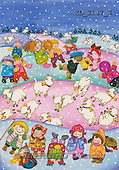 Interlitho, Soledad, CHRISTMAS CHILDREN, naive, paintings, kids, sheep(KL2137/3,#XK#) Weihnachten, Navidad, illustrations, pinturas