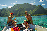 Teahupoo, Tahiti Iti, French Polynesia. Monday 13 August 2012. Pat Gudauskas (USA) and Damien Hobgood (USA). A clean swell in the 3' range with light offshore winds at the start of the day before an onshore sea breeze kicked in around midday. Photo: joliphotos.com
