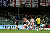 4th November 2017, Sydney Football Stadium, Sydney, Australia; Rugby League World Cup, England versus Lebanon; Josh Hodgson of England passes the ball