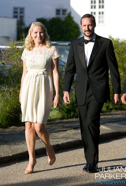 Crown Prince Haakon, and Crown Princess Mette Marit of Norway, arrive for a Dinner Party at Fredensborg Palace, in Denmark, to celebrate Crown Prince Frederiks 40th Birthday. Crown Prince Frederik turned 40 on May 26th. Crown Prince Frederik turned 40 on May 26th