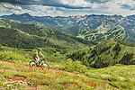 Mountain biking the Wasatch Crest Trail in the Wasatch mountains between Park City and Salt Lake city Utah.