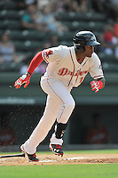 Center fielder Luis Alexander Basabe (19) of the Greenville Drive bats in a game against the Lakewood BlueClaws on Sunday, June 26, 2016, at Fluor Field at the West End in Greenville, South Carolina. Greenville won, 2-1. (Tom Priddy/Four Seam Images)