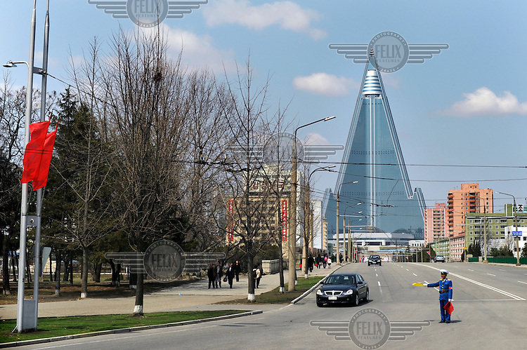 Ryugyong Hotel, the highest landmark of the city. Construction started in 1987 but ended in 1992 and after a 16 year hiatus began again in 2008 and is still unfinished..