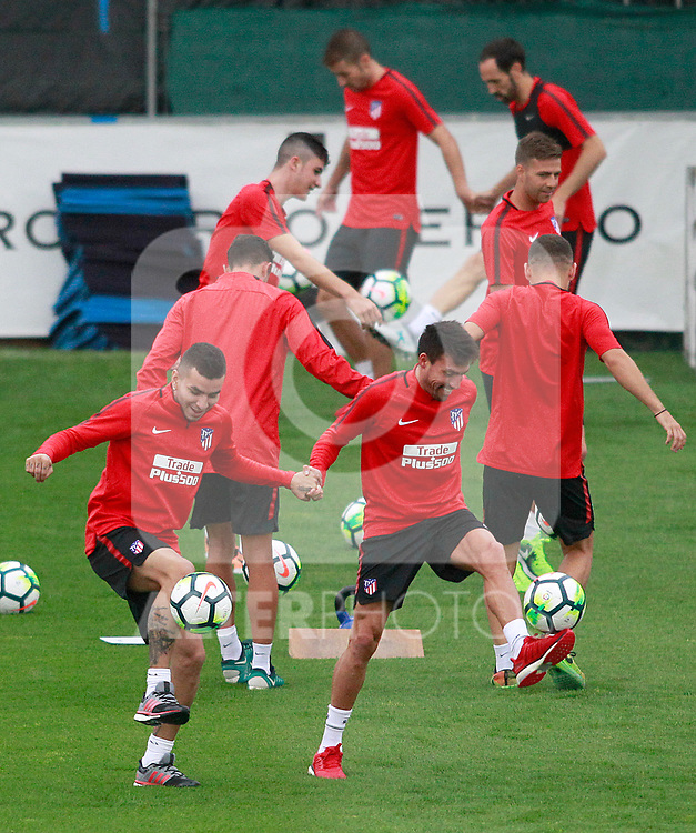 Atletico de Madrid's Angel Correa (l) and Nico Gaitan during the first training session 2017/2018 season. July 6, 2017. (ALTERPHOTOS/Acero)