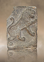 9th century BC stone Neo-Hittite/ Aramaean Orthostats from Palace Temple of the Aramaean city of Tell Halaf in northeastern Syria close to the Turkish border. The Orthostats are in a Neo Hittite style and depict a mythical lion. Pergamon Museum, Berlin