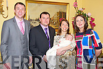 Baby Dylan Flynn, Ballaugh, Killarney, pictured with his parents Mike and Olive and godparents Noel Brennan and Judith Flynn at his christening celebrations in the Randles Court hotel, Killarney on Saturday evening.