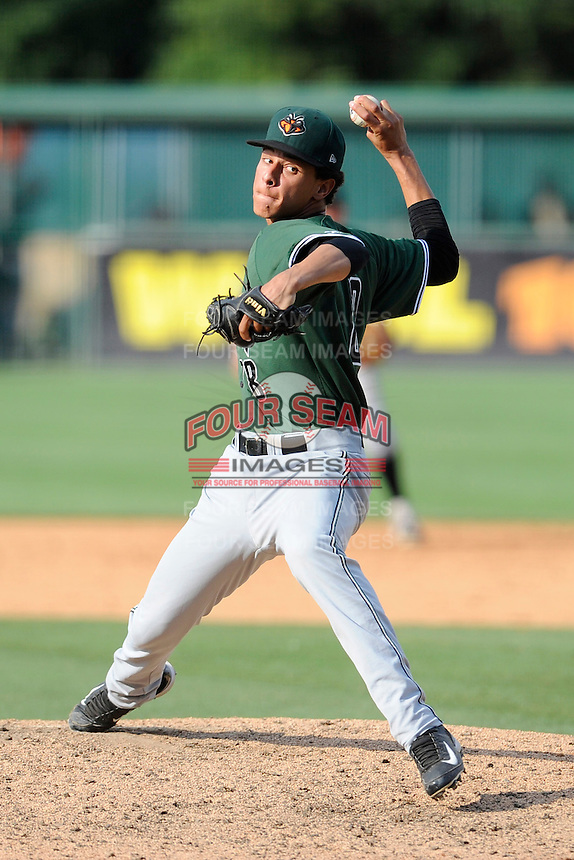 Relief pitcher Luis Castillo (28) of the Augusta GreenJackets in a game against the Greenville Drive on Sunday, July 13, 2014, at Fluor Field at the West End in Greenville, South Carolina. Greenville won, 8-5. (Tom Priddy/Four Seam Images)