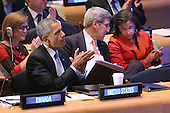 United States President Barack Obama (2nd L) sits with his foreign policy team (L-R) U.S. Ambassador to the United Nations Samantha Power, Secretary of State John Kerry and National Security Advisor Susan Rice during the Leaders' Summit on Peacekeeping at the 70th annual UN General Assembly at the UN headquarters September 28, 2015 in New York City. The White House helped to lead and secure new commitments of peacekeeping support from UN member countries.  <br /> Credit: Chip Somodevilla / Pool via CNP