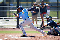 Tampa Bay Rays Pedro Diaz (24) during a Minor League Extended Spring Training game against the Atlanta Braves on April 15, 2019 at CoolToday Park Training Complex in North Port, Florida.  (Mike Janes/Four Seam Images)