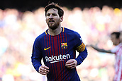 18th March 2018, Camp Nou, Barcelona, Spain; La Liga football, Barcelona versus Athletic Bilbao; Lionel Messi of FC Barcelona gets into position before a free kick