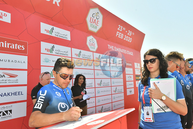 Domenico Pozzovivo (ITA) NTT Pro Cycling at sign on before Stage 3 The Emirates Stage of the UAE Tour 2020 running 184km from Al Qudra Cycle Track to Jebel Hafeet, Dubai. 25th February 2020.<br /> Picture: LaPresse/Massimo Paolone | Cyclefile<br /> <br /> All photos usage must carry mandatory copyright credit (© Cyclefile | LaPresse/Massimo Paolone)