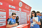 Domenico Pozzovivo (ITA) NTT Pro Cycling at sign on before Stage 3 The Emirates Stage of the UAE Tour 2020 running 184km from Al Qudra Cycle Track to Jebel Hafeet, Dubai. 25th February 2020.<br /> Picture: LaPresse/Massimo Paolone   Cyclefile<br /> <br /> All photos usage must carry mandatory copyright credit (© Cyclefile   LaPresse/Massimo Paolone)