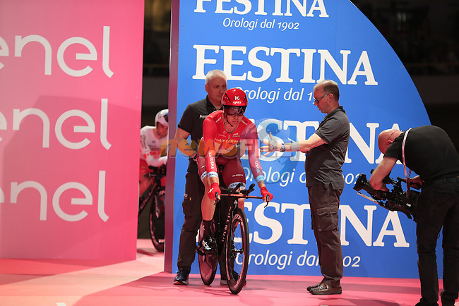 Anton Vorobyev (RUS) Katusha ready on the start ramp of Stage 1 of the 2016 Giro d'Italia, an individual time trial of 9.8km around Apeldoorn, The Nethrerlands. 6th May 2016.<br /> Picture: Eoin Clarke | Newsfile<br /> <br /> <br /> All photos usage must carry mandatory copyright credit (&copy; Newsfile | Eoin Clarke)