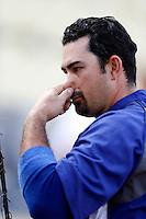 Adrian Gonzalez #23 of the Los Angeles Dodgers before a game against the Colorado Rockies at Dodger Stadium on April 30, 2013 in Los Angeles, California. (Larry Goren/Four Seam Images)