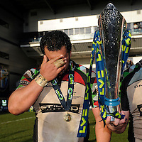 20130317 Copyright onEdition 2013©.Free for editorial use image, please credit: onEdition..James Johnston of Harlequins shows emotion after winning the LV= Cup Final between Harlequins and Sale Sharks at Sixways Stadium on Sunday 17th March 2013 (Photo by Rob Munro)..For press contacts contact: Sam Feasey at brandRapport on M: +44 (0)7717 757114 E: SFeasey@brand-rapport.com..If you require a higher resolution image or you have any other onEdition photographic enquiries, please contact onEdition on 0845 900 2 900 or email info@onEdition.com.This image is copyright onEdition 2013©..This image has been supplied by onEdition and must be credited onEdition. The author is asserting his full Moral rights in relation to the publication of this image. Rights for onward transmission of any image or file is not granted or implied. Changing or deleting Copyright information is illegal as specified in the Copyright, Design and Patents Act 1988. If you are in any way unsure of your right to publish this image please contact onEdition on 0845 900 2 900 or email info@onEdition.com