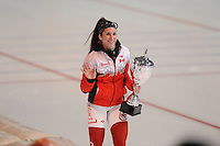 SCHAATSEN: ERFURT: Gunda Niemann Stirnemann Eishalle, 22-03-2015, ISU World Cup Final 2014/2015, winner Mass Start Ladies World Cup, Ivanie Blondin (CAN), ©foto Martin de Jong