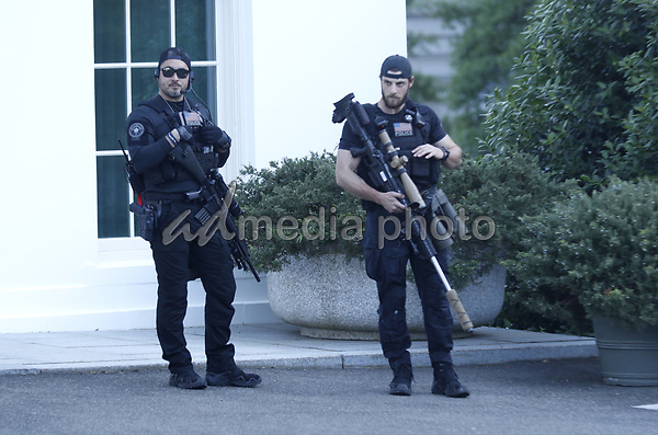 Snipers outside the White House before US President Donald J. Trump delivers remarks in the Rose Garden at the White House in Washington, DC, USA, 01 June 2020. Trump addressed the nationwide protests following the death of George Floyd in police custody.<br /> Credit: Shawn Thew / Pool via CNP/AdMedia