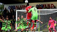Ethan Ebanks-Landell of MK Dons heads the ball towards the Forest Green Rovers goal during Forest Green Rovers vs MK Dons, Caraboa Cup Football at The New Lawn on 8th August 2017