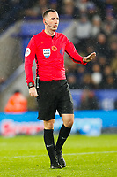 9th November 2019; King Power Stadium, Leicester, Midlands, England; English Premier League Football, Leicester City versus Arsenal; Referee Chris Kavanagh tells the players to calm down after a series of hard challenges - Strictly Editorial Use Only. No use with unauthorized audio, video, data, fixture lists, club/league logos or 'live' services. Online in-match use limited to 120 images, no video emulation. No use in betting, games or single club/league/player publications