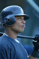 Robinson Cano of the New York Yankees during batting practice before a 2007 MLB season game  against the Los Angeles Angels at Angel Stadium in Anaheim, California. (Larry Goren/Four Seam Images)