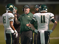 NWA Democrat-Gazette/ANDY SHUPE<br /> Alma coach Doug Loughridge speaks to his team against Springdale Friday, Sept. 7, 2018, during the first half at Jarrell Williams Bulldog Stadium in Springdale. Visit nwadg.com/photos to see photographs from the game.