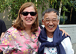 Rita Ciolli and Henry Moritsugu seen at BBQ in Newsday Courtyard at Melville Office on Wednesday June 30, 2004 for Editorial Staff some of whom are taking  recent Buy Out Packages. (Photo/ Jim Peppler).