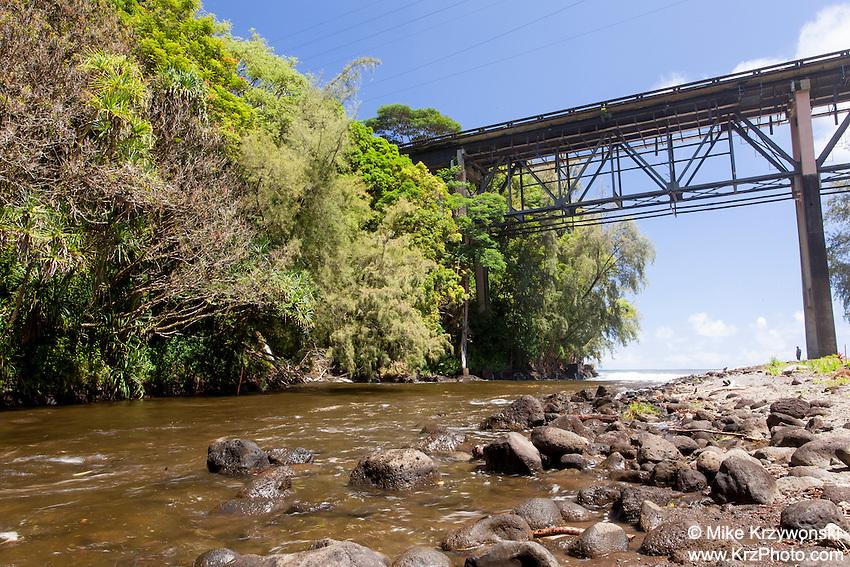 Large bridge over Kolekole Stream at Kolekole Beach Park in Honomu, Big Island, Hawaii