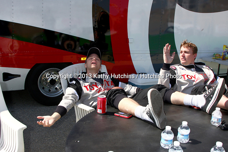 LOS ANGELES - MAR 23:  Brett Davern, Dakota Meyer (Medal of Honor Winner) aetting some sun during a break at the 37th Annual Toyota Pro/Celebrity Race training at the Willow Springs International Speedway on March 23, 2013 in Rosamond, CA          EXCLUSIVE PHOTO