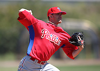 March 30, 2010:  Pitcher Tyler Cloyd of the Philadelphia Phillies organization during Spring Training at the Carpenter Complex in Clearwater, FL.  Photo By Mike Janes/Four Seam Images