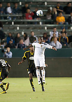 LA Galaxy forward Edson Buddle (14) heads ball during the first half of the game between LA Galaxy and the Columbus Crew at the Home Depot Center in Carson, CA, on September 11, 2010. LA Galaxy 3, Columbus Crew 1