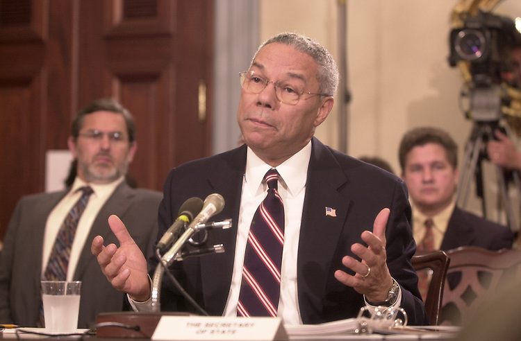6powell102401 -- Secretary of State, Colin Powell,in the U.S. Capitol to give congress information on recent developments on the fight against terror.