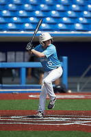 Colton Starling (5) of Chesterfield High School in Marshville, NC during the Atlantic Coast Prospect Showcase hosted by Perfect Game at Truist Point on August 23, 2020 in High Point, NC. (Brian Westerholt/Four Seam Images)